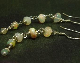 Ethiopian Opal Earrings/ Sterling Opal Dangle Earrings/ October Birthstone