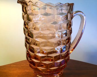 Vintage Fostoria American Whitehall heavy glass perfect peachy pink pitcher