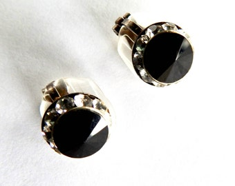 Black and Clear Rhinestone Faux Stud Clip on Earrings