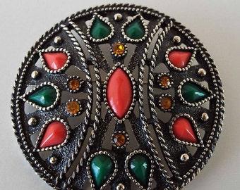 Vintage 1970's Emmons Large Brooch Pendant Africa Queen Retro Designer Brooch