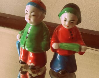 Vintage colourful porcelain 30's Japanese Oriental Children Salt and Pepper Shakers made in Japan