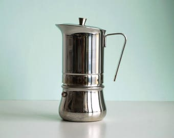 Vintage Italian espresso coffee maker, 6 cups coffee machine stainless steel stove top moka