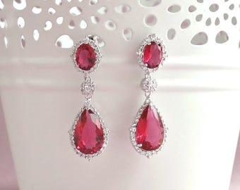 Ruby red earrings, red crystal drop earrings, bridesmaid gift, red wedding earrings