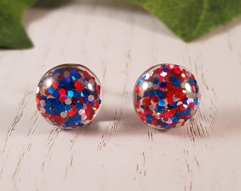 Red & Blue Glitter Button Stud Earring - Hypo-Allergenic Surgical Steel
