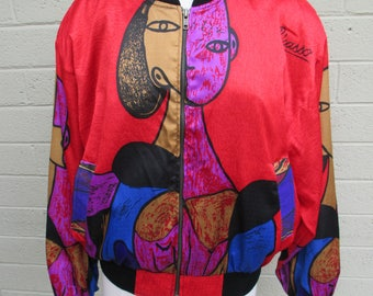 Red Picasso colorful zip bomber jacket