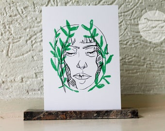 Portrait of a lady - A6 postcard // Plant portrait illustration