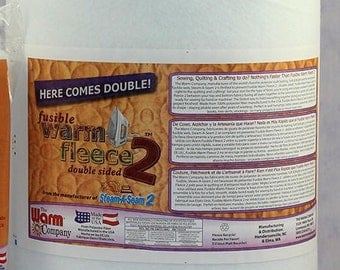 """Double Sided Fusible Fleece by Warm Company 45"""" wide, Double Sided, SOLD by the YARD, Quilt Batting, Quilting 9511"""