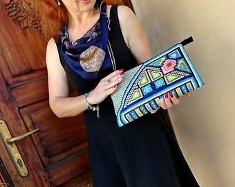 Made to order: Gorgeous Large Clutch OOAK embroidered by hand in unique design, Zipper pouch, Desirable purse, Gift idea