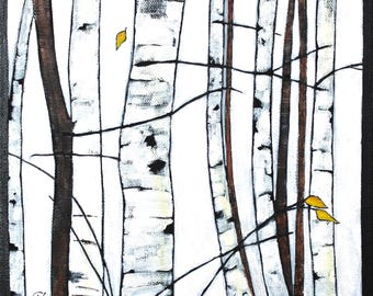 """Birches - Early Winter Original Landscape Painting with Trees Acrylic on Canvas 10""""x10"""""""