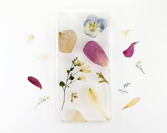 iPhone 6 Plus case with real pressed flowers in muted, romantic hues