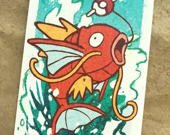 Magikarp Print - [Poster or Postcard Sizes] - Pokemon Fan Art