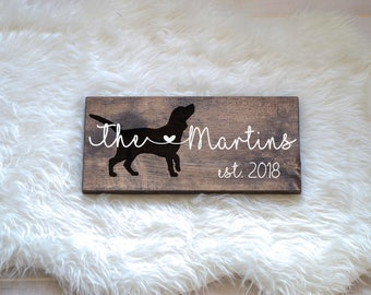 Last Name Wood Sign with Beagle Silhouette Wedding Signs, Last Name, Wedding Gift, Dog Wedding Gift, Anniversary Gift, Entryway