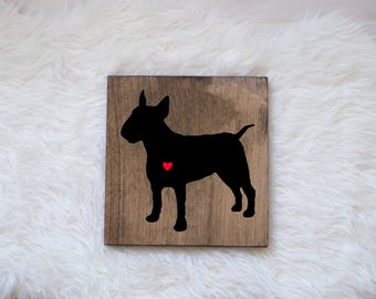 Hand Painted Bull Terrier Silhouette on Stained Wood, Dog Decor, Dog Painting, Gift for Dog People, New Puppy Gift, Housewarming Gift