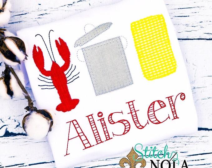 Featured listing image: Crawfish Boil Trio, Crawfish Boil Applique, Crawfish Boil Shirt, Crawfish Applique