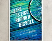 """Einstein Print, """"Life Is Like Riding A Bicycle"""", Keep Moving, Chalkboard Quote, Blue & Green, Giclée, 8x10, 11x14, 24x30"""