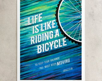 "Einstein Print, ""Life Is Like Riding A Bicycle"", Keep Moving, Chalkboard Quote, Blue & Green, Giclée, 8x10, 11x14, 24x30"