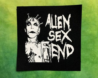 ALIEN SEX FIEND Patch Goth Gothic Industrial Punk Patches Band Rock Metal Black Canvas White Ink Sew On Screen Printed Silkscreen Punx