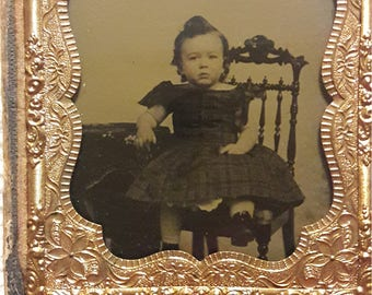 Ambrotype of Child Boy in Dress 1850s-60s Ruby Ambrotype 1/6 Plate