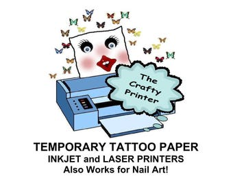 Nail tattoos etsy tattoo temporary removable decal paper for inkjet and laser printers easy to create print prinsesfo Image collections