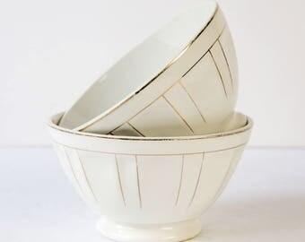 2 vintage Café au Lait bowls - Italian Laveno - Breakfast bowl