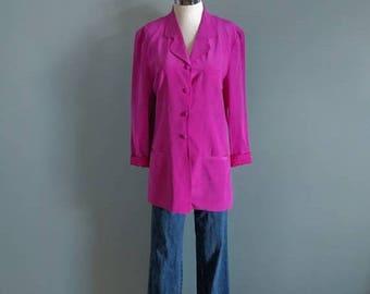 SALE vintage 90's long silk blazer in magenta