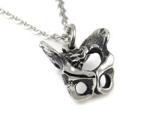 Pelvis Necklace in Pewter, Handmade Pelvic Bone Jewelry Hip Charm