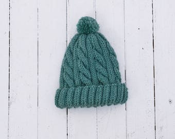 Teal Cable Knit Baby Hat with Pom Pom