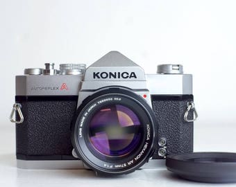 Konica Autoreflex A 35mm Film SLR Camera with Konica Hexanon AR EE 57mm F/1.4 Fast Prime Lens, Hood, Batteries