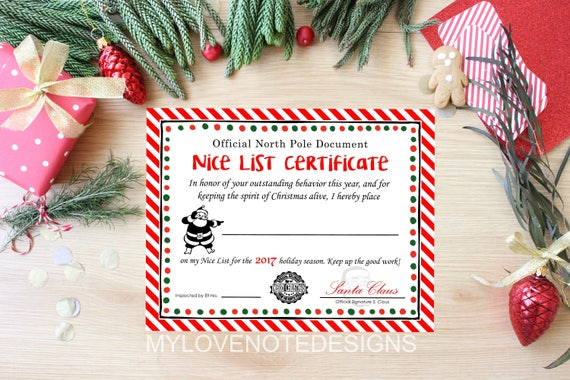 Instant nice list certificate 2017 printable certificate il570xn yadclub Images