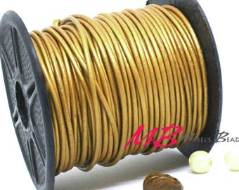 2mm Spool of Metallic Gold Indian Leather, 5 Yard Spool of Gold Genuine Leather, 15 feet Round Leather for Jewelry Making