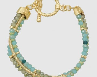 3 Row Blue Faceted Glass Bead Bracelet with Toggle Clasp