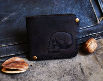 Genuine leather bifold Wallet Tattoo Skull men's women's wallet