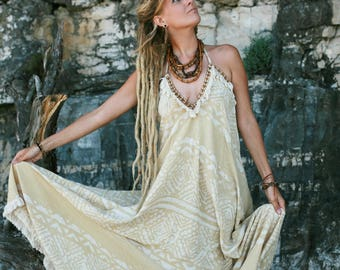 Natural Dye Blockprint Tribal Dress by GayatriTribalCrafts