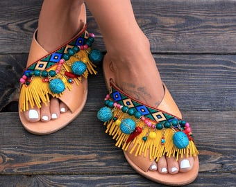 "Sandals ""Bali"", Handcrafted leather sandals, Greek leather sandals, Colorful sandals, Handmade sandals"