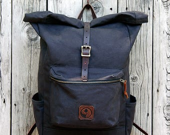 ISABELLA ROLLTOP BACKPACK - Canvas & Leather Rolltop Backpack | Cotton Shoulder Straps | Lifetime Guarantee
