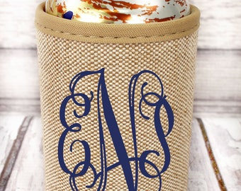Jute can cooler with monogram