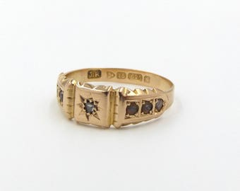 Antique 15ct Gold Diamond & Pearl Ring   15k Edwardian Signet Ring   UK size P ~ US size 7 1/2