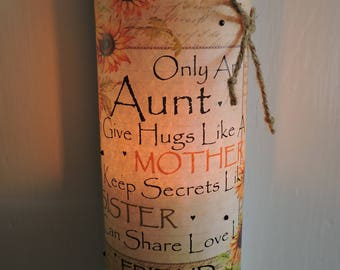 Sunflower Aunt Candle | Aunt Gift | Aunt Birthday Gift | Aunt Candle | Sunflower Gift for Aunt | Aunt and Niece | Only an Aunt Can Quote