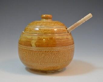 Honey Jar, Honey deeper included, Honey Pot, Ceramic Honey Pot - Jam Jar - Canister For Honey - Sugar Bowl - Pot Honey - Ceramic Honey Jar