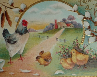 New Listing**Hen and Chicks Antique Easter Postcard