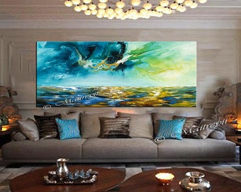 Large Ocean Painting, Beach art, Blue Seascape abstract painting on canvas, luxurty modern style for office or living room artwork