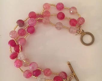 Pink Agate and Gold Bracelet