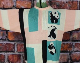 Pastel Pandas Vintage 1990s Sweater