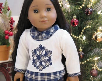Ready to Ship! 18 Inch Doll Winter Top - Blue/White Velvet Sweater Top  - Modern Holiday Doll Clothes - American Made Girl Doll Clothes