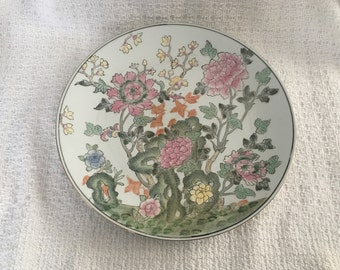 Hand Painted Porcelain Floral Plate, Asian Decor, Embossed Floral Design, Floral on White Background