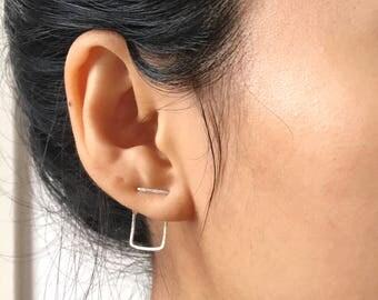 Double Piercing Two Hole Earring | Minimal Earring | Abstract Square Earrings | Geometric Ear Jacket | Silver Ear Crawler | Delicate Earring