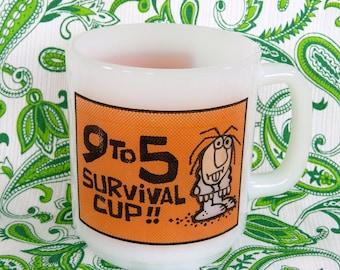 Retro 70s Glasbake mug - 9 - 5 Survival Cup!!  Kitsch novelty classic - nice robust mug