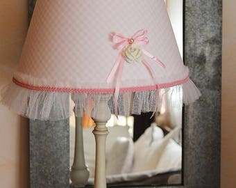 Romantic lamp shade - pastel pink gingham - flower and ruffles - Shabby chic style
