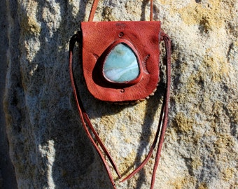 Blue wolf Larimar cabochon leather medicine bag