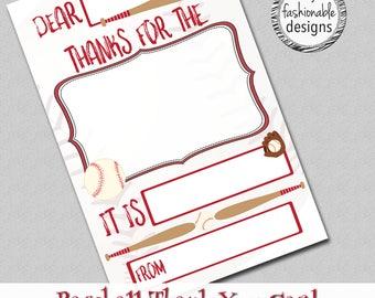 "Baseball Thank You Card, Kids Card, Instant Download, 4x6"" JPG,"